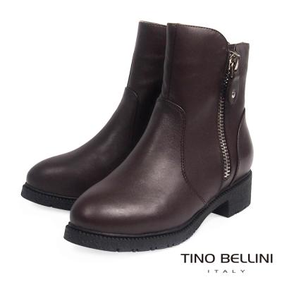 Tino Bellini 中性雙拉鍊低跟短靴_咖