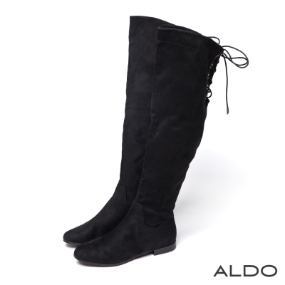 ALDO-原色幾何造型車線交叉綁帶式長靴-尊爵黑色