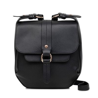 RADLEY TRINITY SQUARE荔枝紋牛皮金屬環肩背/斜背包(黑)
