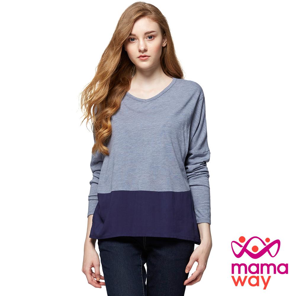 mamaway媽媽餵 V領寬鬆剪接哺乳上衣(共2色)