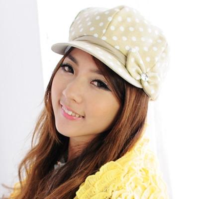 Aimee Toff 可愛點點寶石鑽亮造型時尚帽(米)