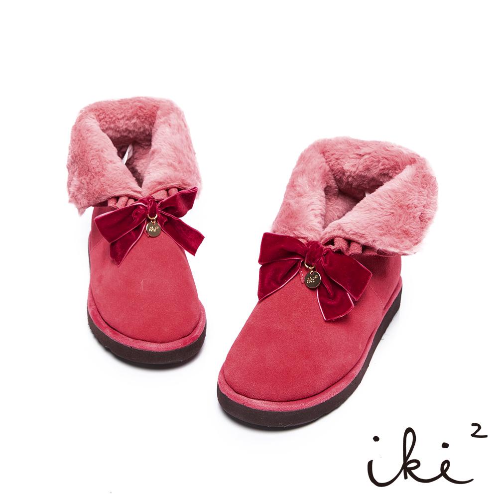 iki2雪靴華麗2way毛毛反折雪靴-粉