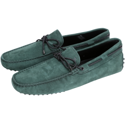 TOD'S Gommino Driving 麂皮綁帶豆豆休閒鞋(綠色)
