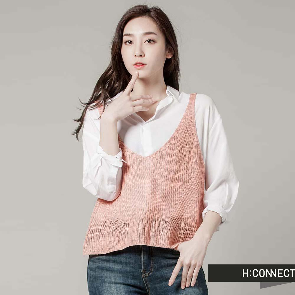 H:CONNECT韓國品牌女裝純色V領針織感外搭背心-粉快