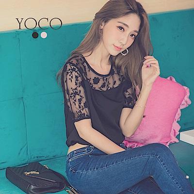 東京著衣-yoco 柔美蕾絲拼接公主澎袖上衣-S.M.L(共二色)