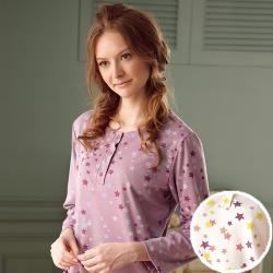 羅絲美睡衣 -滿天繁星長袖洋裝睡衣 (繽紛白)