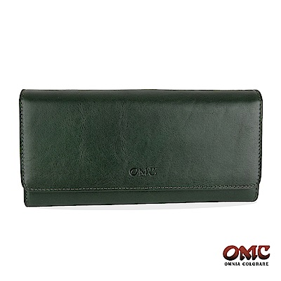 OMC 原皮系列-植鞣牛皮壓扣16卡透明窗三折雙隔層零錢長夾-綠色