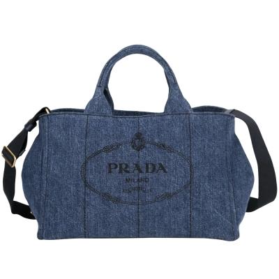 PRADA-Canvas-單寧-帆布-印花-兩用包