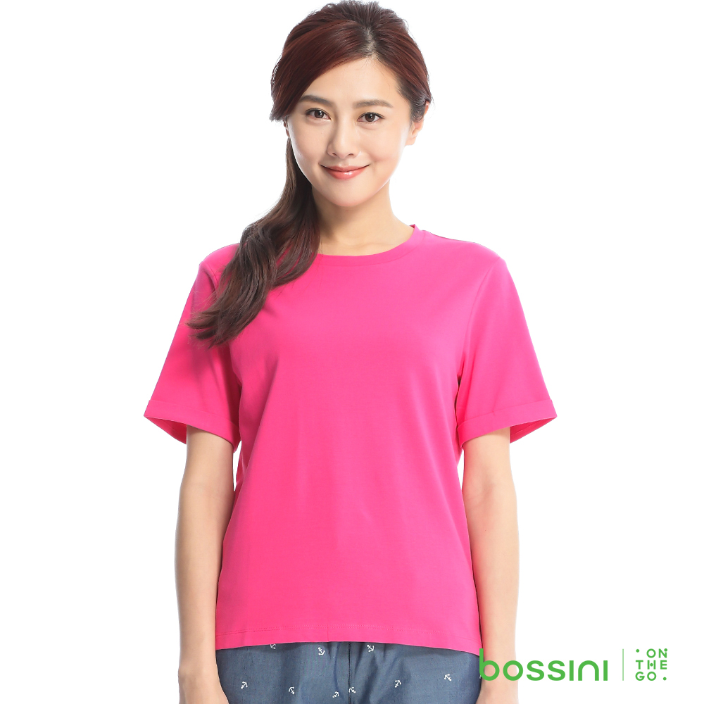 bossini女裝-素色寬版圓領T恤13亮桃紅