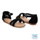 TOMS 繫踝麂皮平底涼鞋-孩童款(黑)