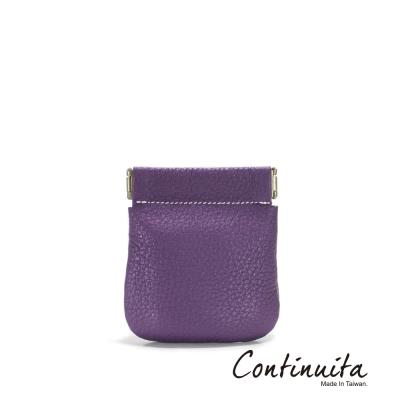 Continuita-康緹尼-MIT-頭層牛皮口袋零錢包-紫色