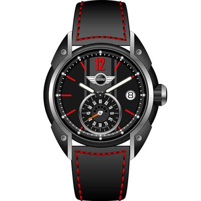 MINI Swiss Watches  極速運動腕錶-黑/黑面/45mm