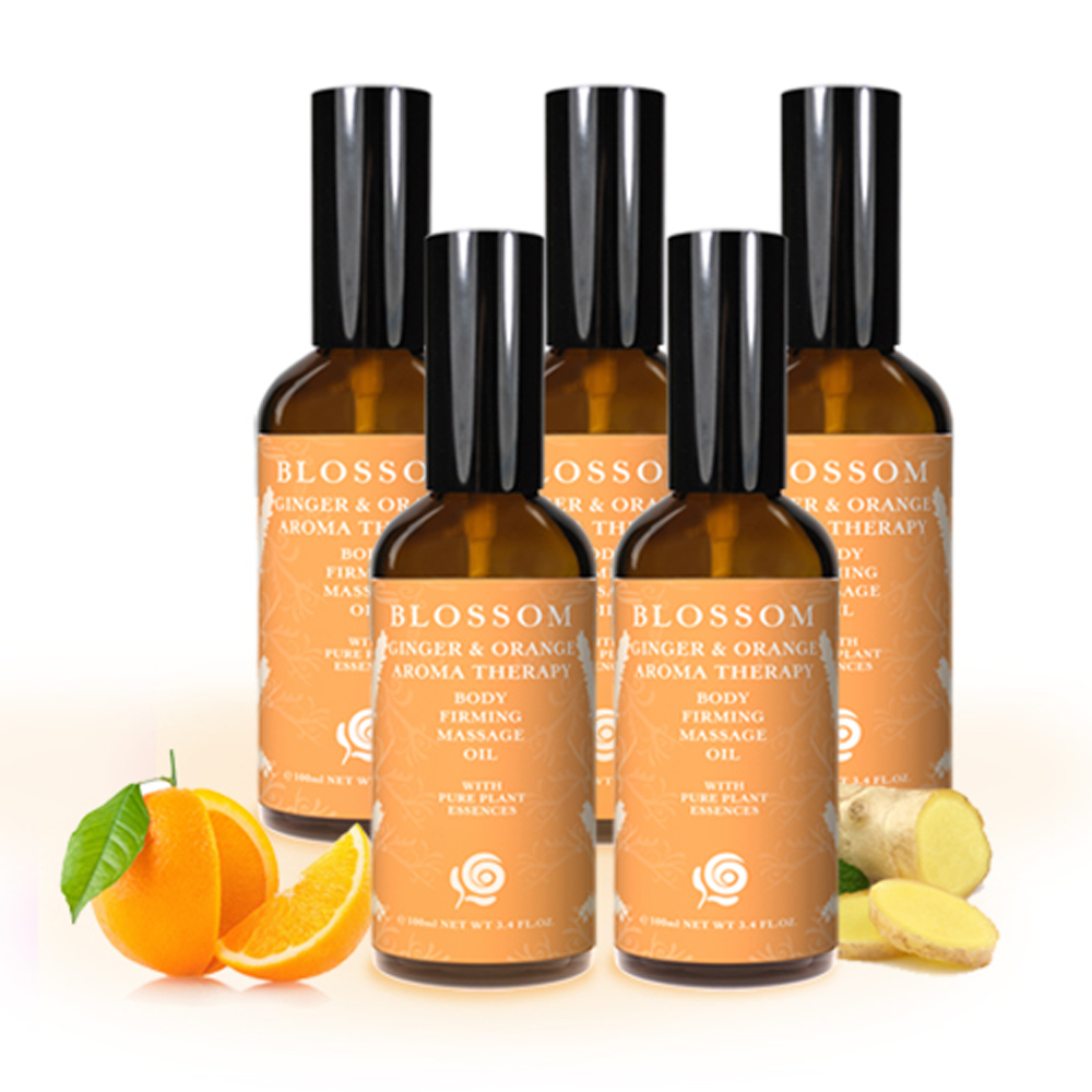 BLOSSOM 暖薑甜橙植萃曲線緊緻舒緩按摩油(100ML/瓶X5瓶) @ Y!購物