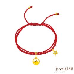 J'code真愛密碼 天秤座-銀杏葉黃金紅繩手鍊