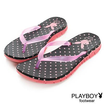 PLAYBOY 清新線條 水玉點點可愛夾腳拖鞋-黑(女)