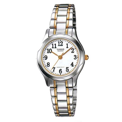 CASIO 時尚輝煌指針淑女錶(LTP-1275SG-7B)-金邊/白色數字面/25mm