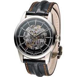 Hamilton 漢米爾頓 永恆經典鏤空腕錶-黑色x鏤空/皮帶/42mm