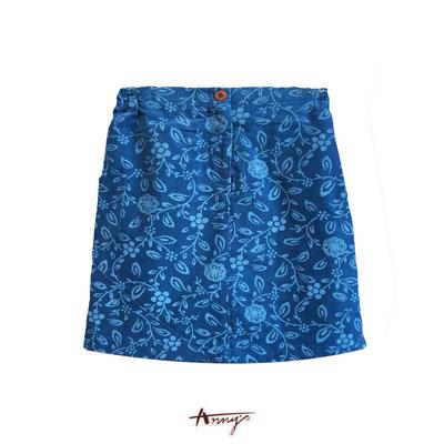 Anny粉色精靈系圖騰壓紋短裙*4426藍