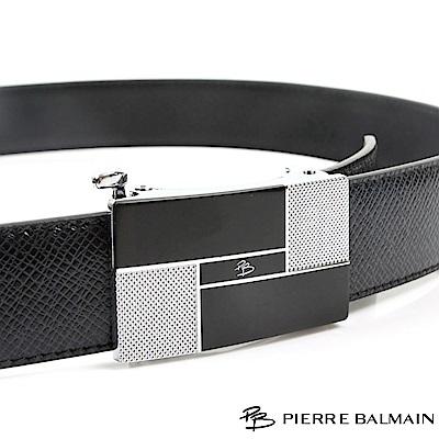 PB 皮爾帕門-經典方切幾何設計款-頭層牛皮自動扣皮帶-855