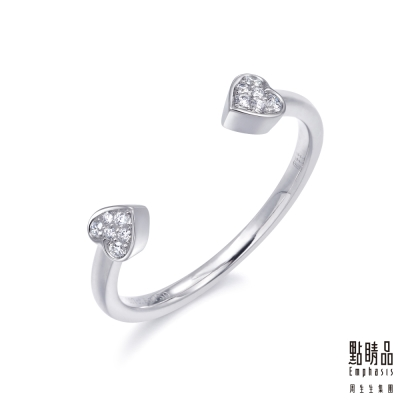 點睛品 Fingers Play 18K金閃耀之心鑽石開口女戒造型戒指