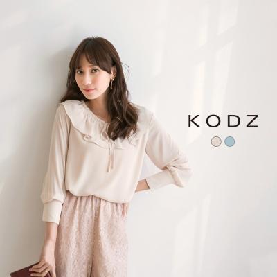 東京著衣-KODZ 小浪漫荷葉綁帶上衣聯名款-S.M.L(共二色)