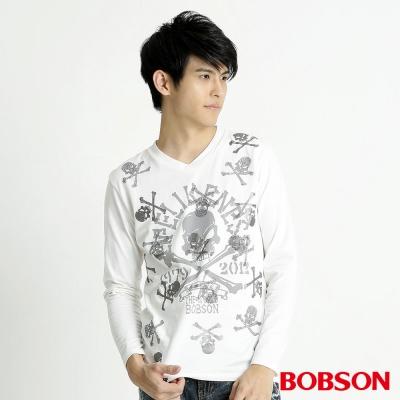 BOBSON 男款骷髏印圖長袖上衣(米白81)