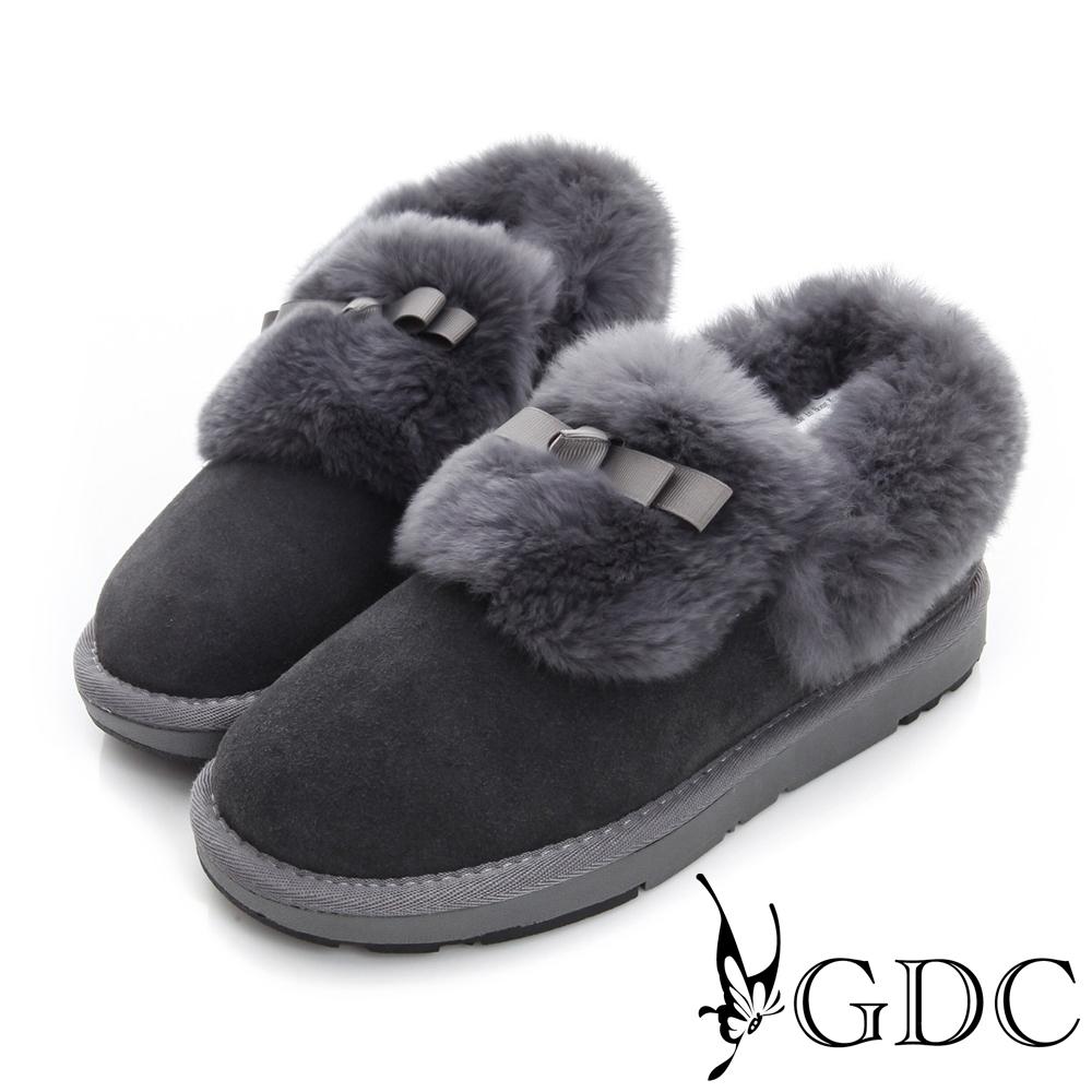 GDC溫暖-蝴蝶結鋪毛真皮短筒雪靴-槍灰色