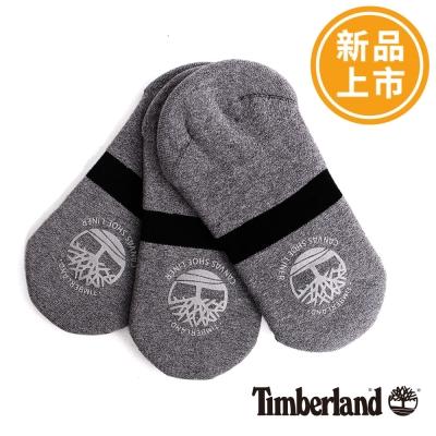 Timberland-男款灰色素面百搭帆船襪-三入