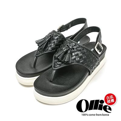 Ollie韓國空運-正韓製編織流蘇人字厚底夾腳涼鞋-黑