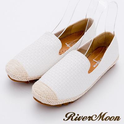 River&Moon樂福鞋-立體編織真皮麻編Q軟懶人便鞋-白系