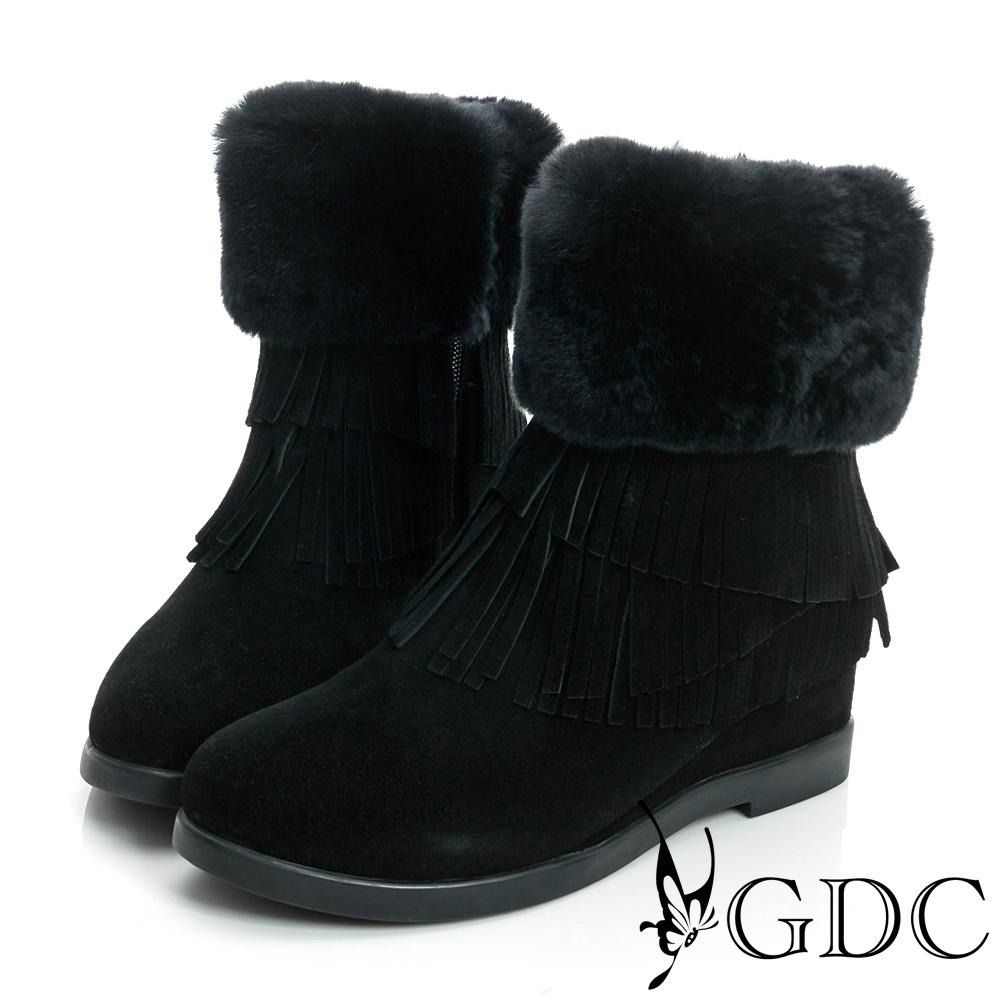 GDC真毛-超暖毛毛流蘇絨面真皮中筒雪靴-黑色