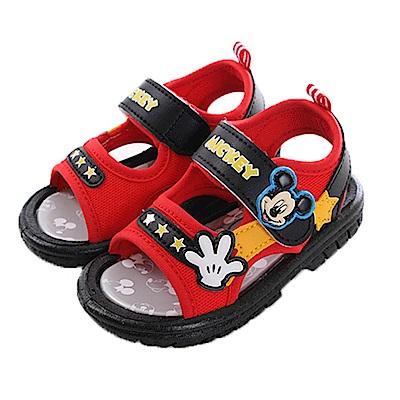 迪士尼米奇寶寶嗶嗶涼鞋 黑紅 sk0387 魔法Baby