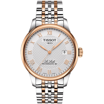 TISSOT 天梭 LE LOCLE 力洛克80動力儲存機械錶-銀x玫瑰金/39mm