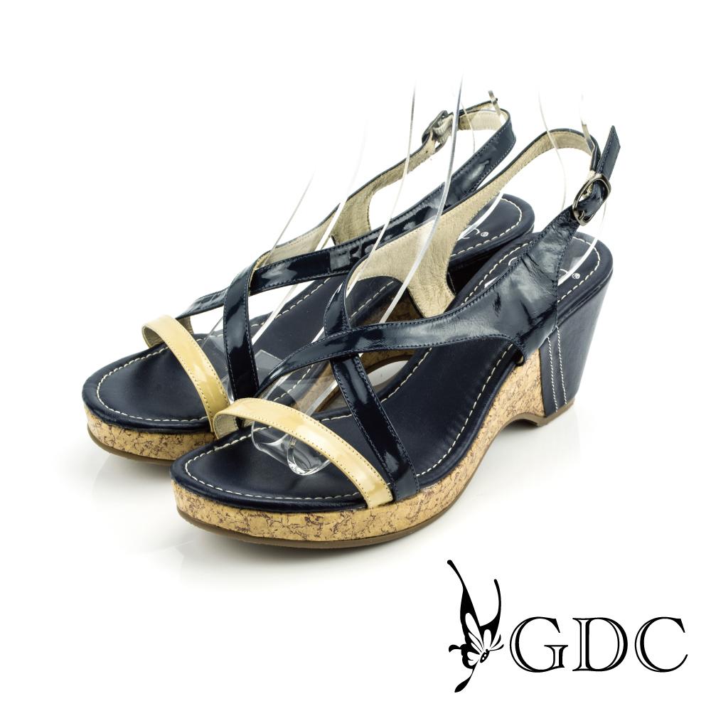 GDC-簡約雙帶撞色交叉軟木塞楔型鞋-藍色