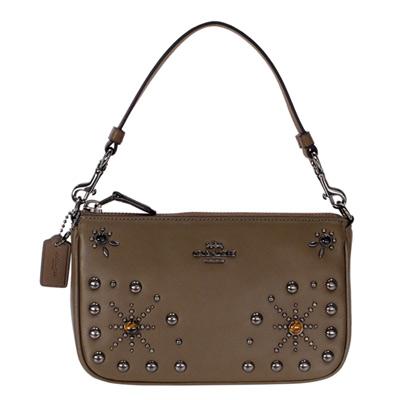 COACH深棕色全皮寶石珠飾手提掛小包