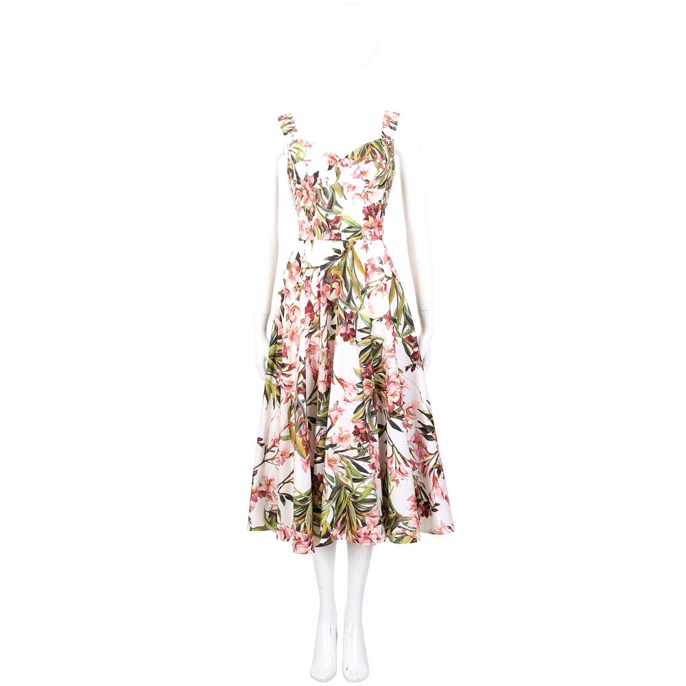DOLCE & GABBANA 白色花草圖騰設計寬版肩帶洋裝