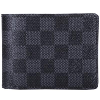 LV N62663 MULTIPLE 棋盤格紋對折短夾(黑灰色)