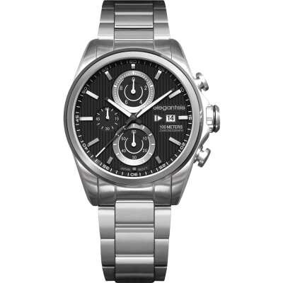 elegantsis Fashion 領先風範三眼計時腕錶-黑x銀/45mm