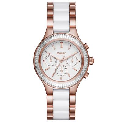 DKNY 精緻雅典娜三眼時尚腕錶-玫瑰金x雙材質錶帶/37mm