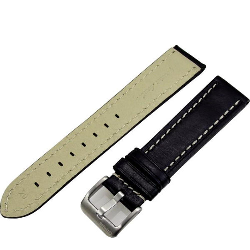 加厚型車白線素面壓紋牛皮錶帶(黑色)