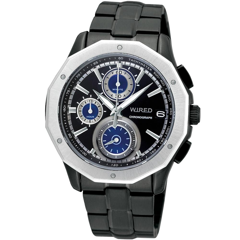 WIRED 黎明昇起時尚潮流計時腕錶(AV6001X)-IP黑/42mm