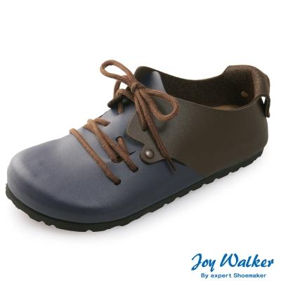 Joy Walker 休閒撞色拼接綁帶包鞋* 藍咖