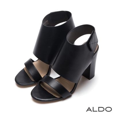 ALDO-原色羅馬戰士寬版魔鬼氈式粗高跟鞋-尊爵黑色