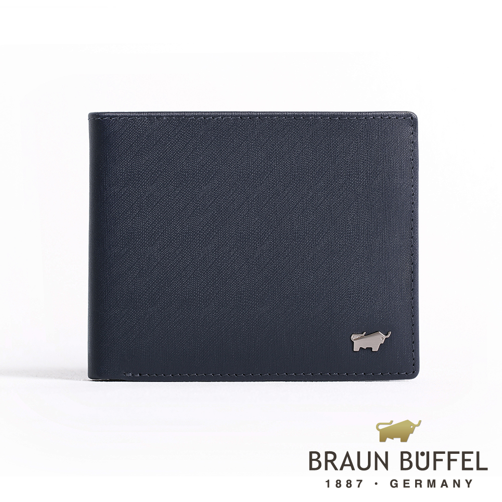 BRAUN BUFFEL 德國小金牛 - HOMME-M紳士系列極光紋4卡零錢皮夾 - 深藍