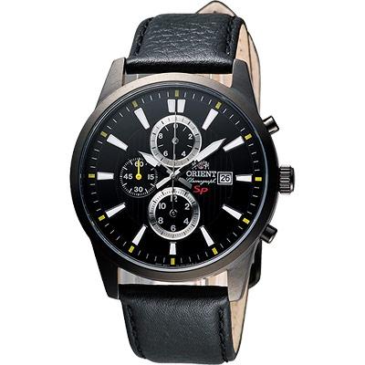 ORIENT 都會計時運動風SP腕錶-黑/42mm