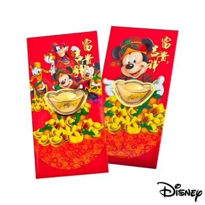 Disney迪士尼系列金飾-黃金元寶紅包袋-迪士尼家族+富貴米奇款