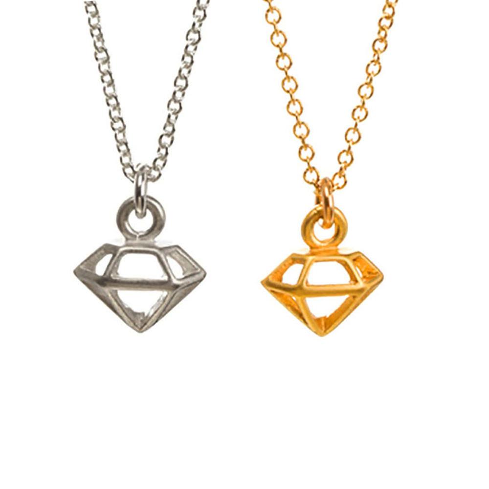 Dogeared 立體鑽石 獨一無二的耀眼 金銀項鍊套組 附原廠盒