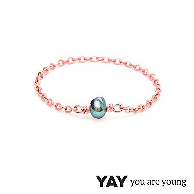 YAY You Are Young 法國品牌 Stella 灰珍珠鍊戒 玫瑰金