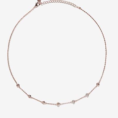 微醺禮物 頸鍊 正韓 鍍 16 K金 金屬頸鍊 圓鑽 水滴鋯石垂墜 項鍊 鎖骨鍊