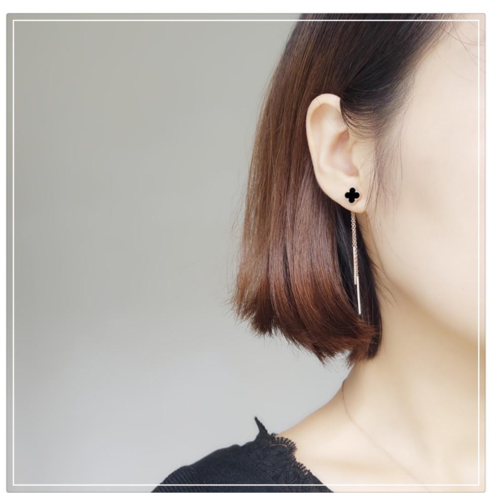 梨花HANA 免耳洞韓國黑晶四葉草直線耳環修飾臉型夾式耳環